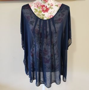 Sheer navy blouse. 3X